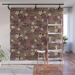 Purple Shamrock Floral Layered Pattern / Brown Wall Mural
