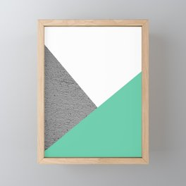 Concrete vs Aquamarine Geometry Framed Mini Art Print