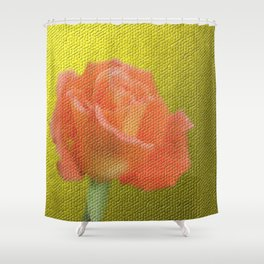 gold,single rose bloom in small mosaic on a colored background of small hexagons Shower Curtain