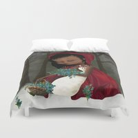 red riding hood Duvet Covers featuring Red Riding Hood by solocosmo