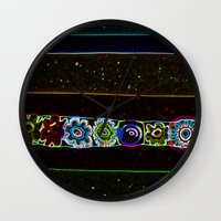 starry night Wall Clocks featuring Starry Starry Night by Lior Blum