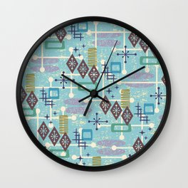 Retro Mid Century Modern Atomic Abstract Pattern 245 Wall Clock