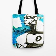 Superhero stressed in traffic Tote Bag