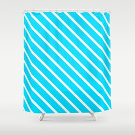 Neon Blue Diagonal Stripes Shower Curtain