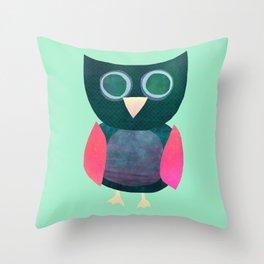 Cute Owl Illustration Throw Pillow