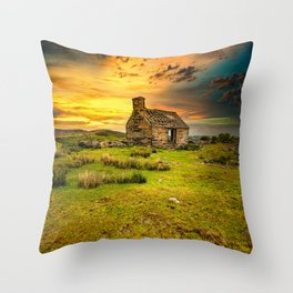Abandoned Quarry Cottage Sunset Throw Pillow