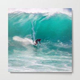Surfing the Ocean Waves Metal Print