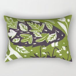 Hedgehog in Autumn Woods - Moss Green Palette Rectangular Pillow
