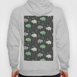 Seamless pattern with cute baby buffaloes and native American symbols, dark gray Hoody