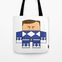 power rangers Tote Bags featuring Mighty Morphin Power Rangers - The Original Blue Ranger Unmasked (Billy) by Choo Koon Designs