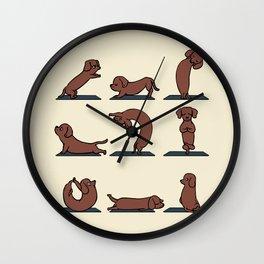 Dachshund yoga Wall Clock