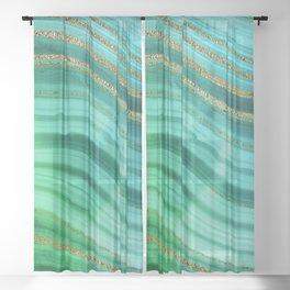 Ocean Blue And Green Mermaid Glamour Marble Sheer Curtain