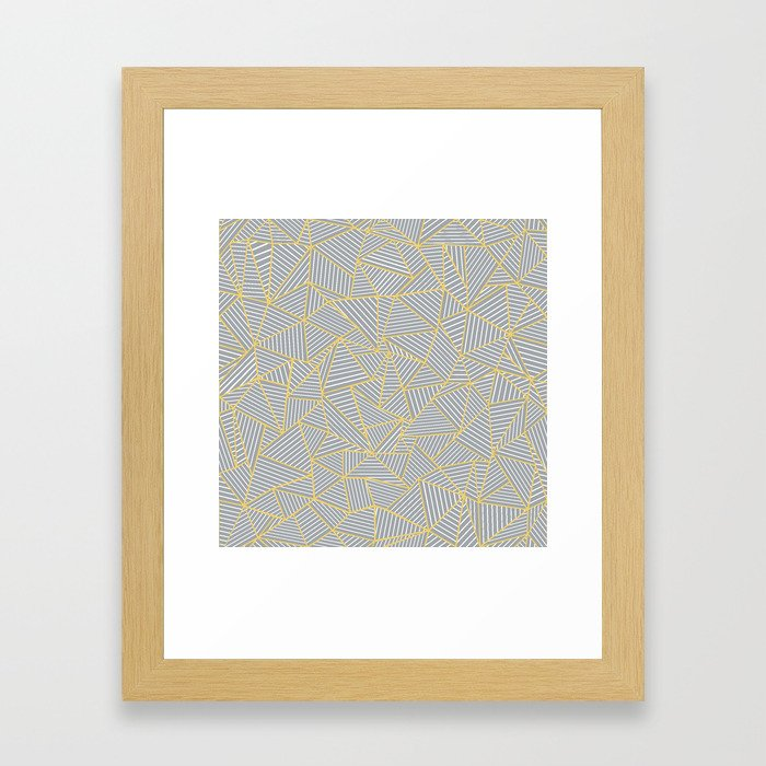 Ab Outline Gold and Grey Framed Art Print