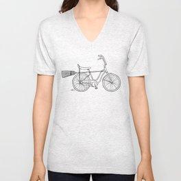 vintage witch bike Unisex V-Neck