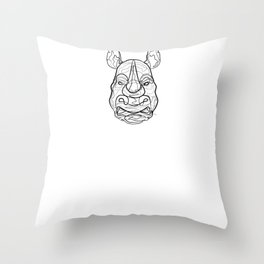 Rhino - One Line Drawing Throw Pillow