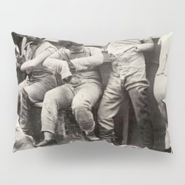 Madam Tussaud Wax Museum Macabre Mannequins in Alleyway black and white vintage photograph Pillow Sham