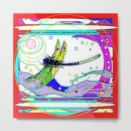 MODERN DRAGONFLY LANDSCAPE RED-PURPLE ABSTRACT Metal Print