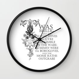Alice In Wonderland Jabberwocky Poem Wall Clock