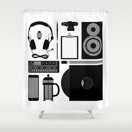 Studio Objects Vector Illustration Shower Curtain