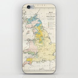 Vintage Map of the Coal Fields of Great Britain iPhone Skin