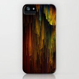 Rainbow Rain Glitches - Abstract Pixel Art iPhone Case