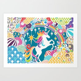 Rainbow Unicorn Hand-Cut Papercut Art Print