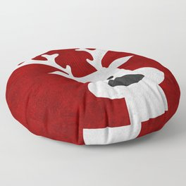 Christmas reindeer red marble Floor Pillow