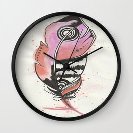 Pink and Orange Feather Wall Clock