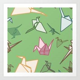 Paper cranes playful origami pattern Art Print