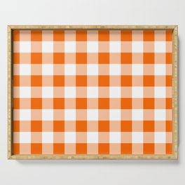 Orange Check Serving Tray
