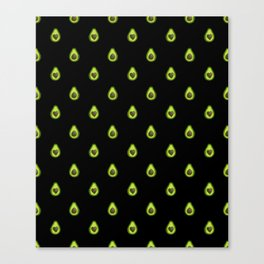 Avocado Hearts (black background) Canvas Print