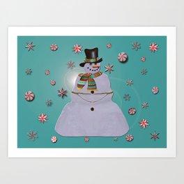 Blue Haze Snowman Ornaments Art Print