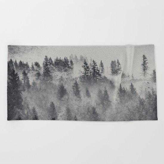 Black and White Charcoal Fog Forest Beach Towel