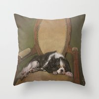 downton abbey Throw Pillows featuring Abbey by Ambre Wallitsch