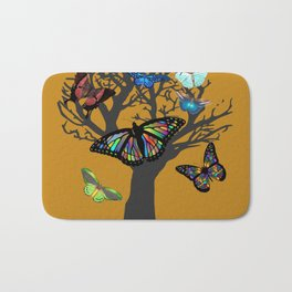 Butterfly and Tree - gold Bath Mat