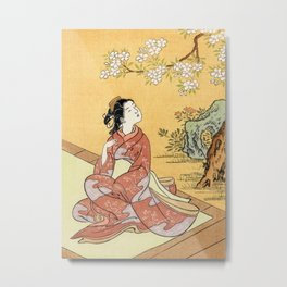 Woman & Cherry Blossoms Metal Print