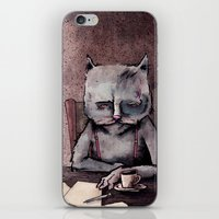 hemingway iPhone & iPod Skins featuring Hemingway cat by Jonathan Silence