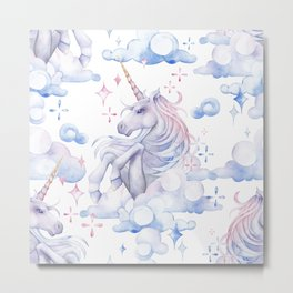 Watercolor unicorn in the sky Metal Print
