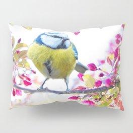Romantic Flower Blossom with blue tit spring bird Pillow Sham