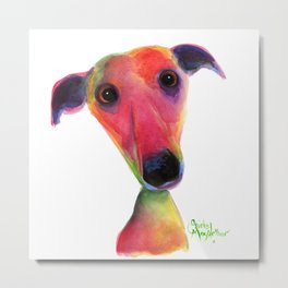 Nosey Dog Whippet Greyhound ' BERTA ' by Shirley MacArthur Metal Print