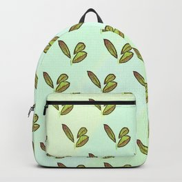Colorful stylish retro hand drawn botanical interior design and textile design pattern in green Backpack