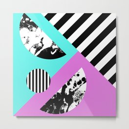 Stripes And Splats 2 - Random, Crazy, Abstract, Geometric, Black And White, Cyan, Pink Artwork Metal Print