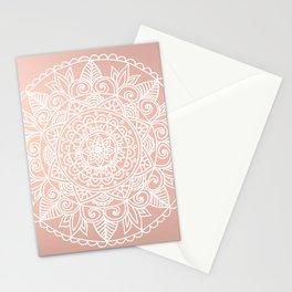 White Mandala on Rose Gold Stationery Cards