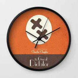 The Great Dictator, Charlie Chaplin movie poster, minimal playbill, nazis political satire, Charlot Wall Clock