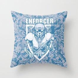 Enforcer Ice Hockey Player Skeleton Throw Pillow