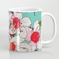 cherry blossoms Mugs featuring Cherry Blossoms by minniemorrisart