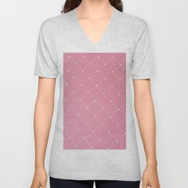 Modern coral pink white geometric pattern Unisex V-Neck