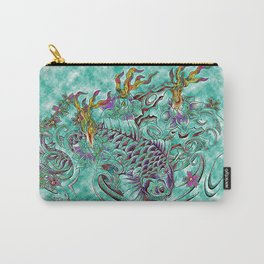Koi with flaming lotus flowers Carry-All Pouch