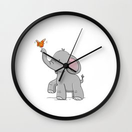 Elephant and butterfly Wall Clock