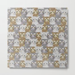 Kitties Galore Pattern Metal Print
